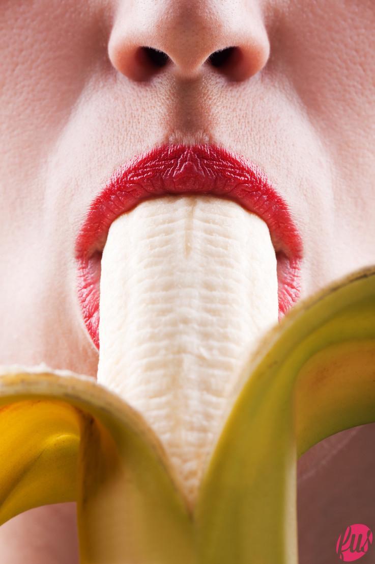 Women eating banana