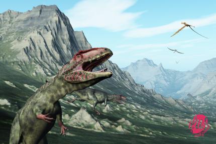 Prehistoric mountain scene Giganotosaurus dinosaurs and anhanguera pterodactyls - 3d render.