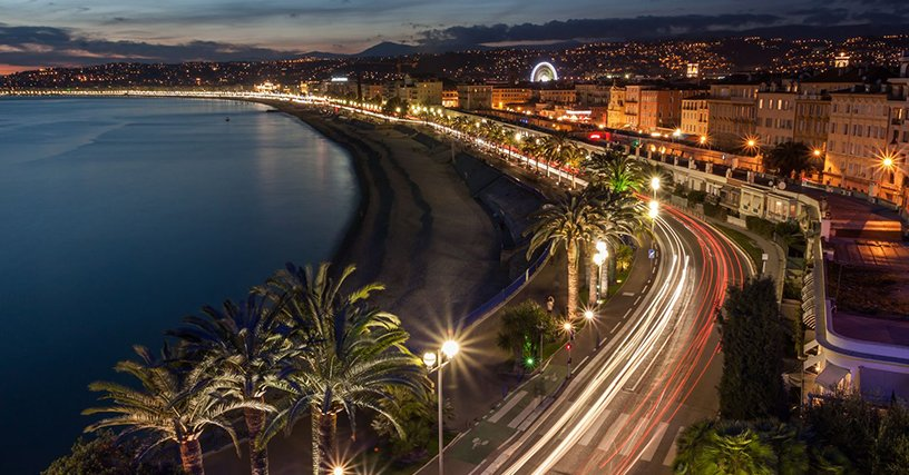French-Riviera-The-Promenade-des-Anglais-in-Nice-at-Sunset